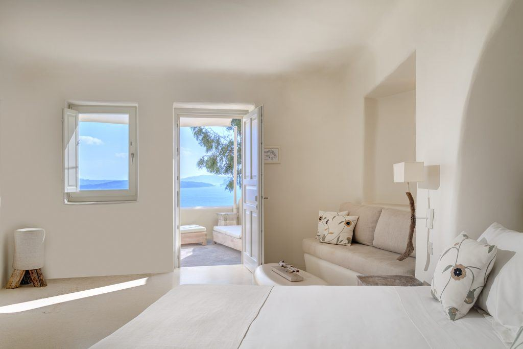 Vibrant Suite Living Area and Views at Mystique a Luxury Collection Hotel Santorini