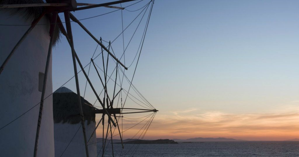 Mykonos Town The Windmill Sunset_Journey Greece_Santa Marina Resort