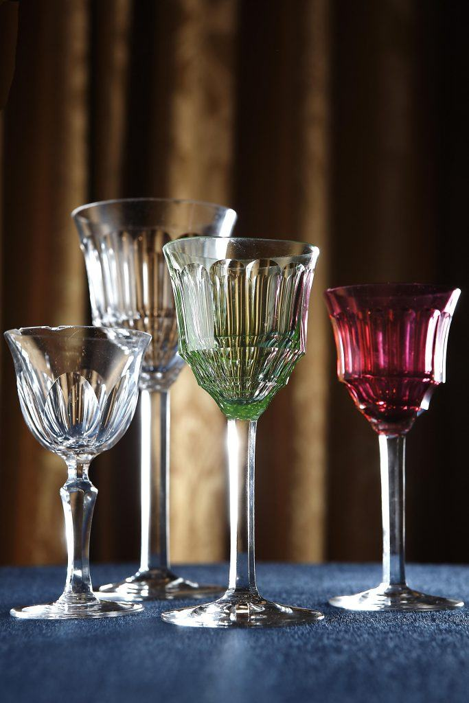 Crystal glasses with painted base hotel grande bretagne athens