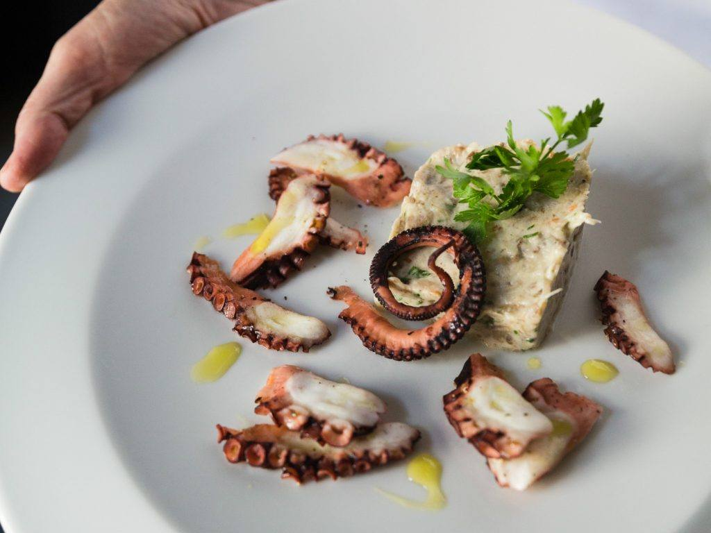 person holding plate with tentacles