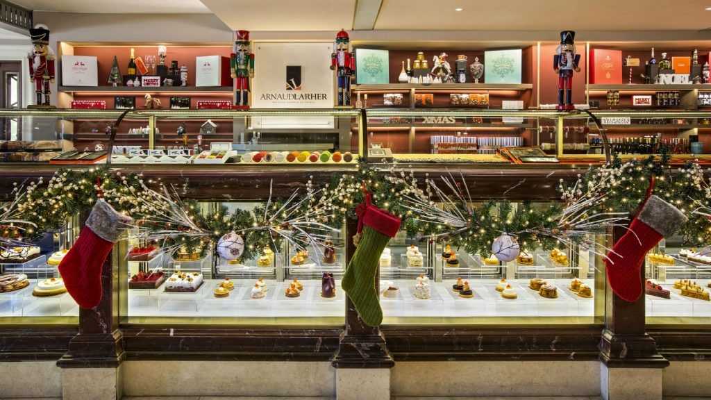 Christmas decoration at GB Corner Gifts and Flavors store at Hotel Grande Bretagne Athens