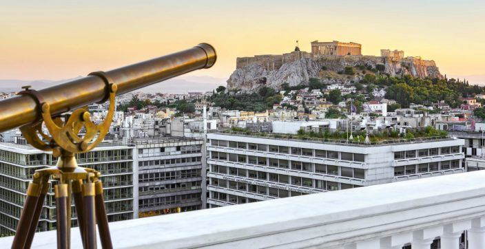 Athens from Above by Hotel King George with views to the Acropolis from the Penthouse Suite veranda