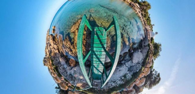 fish eye photography of green dock