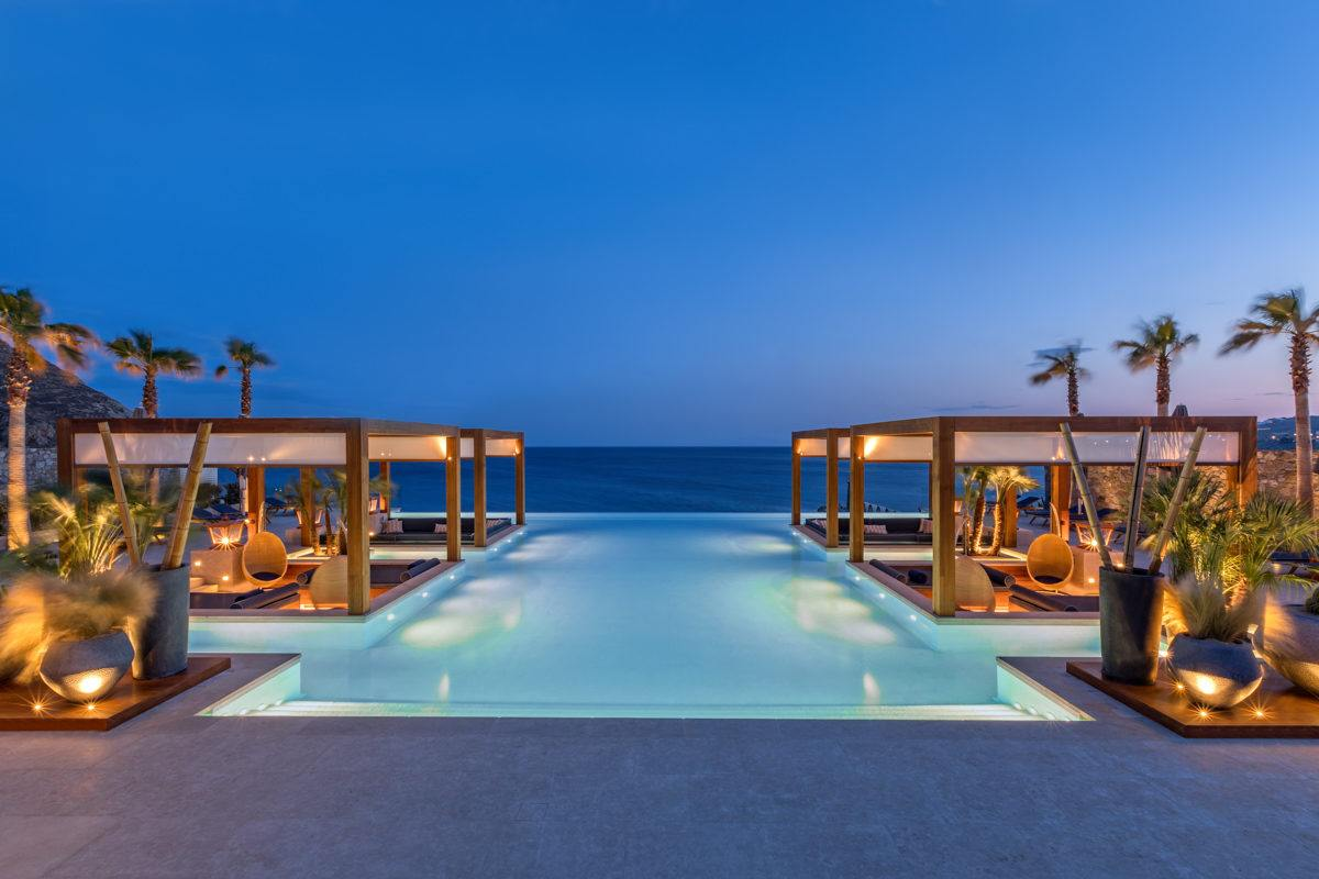 swimming pool near sea at blue hour