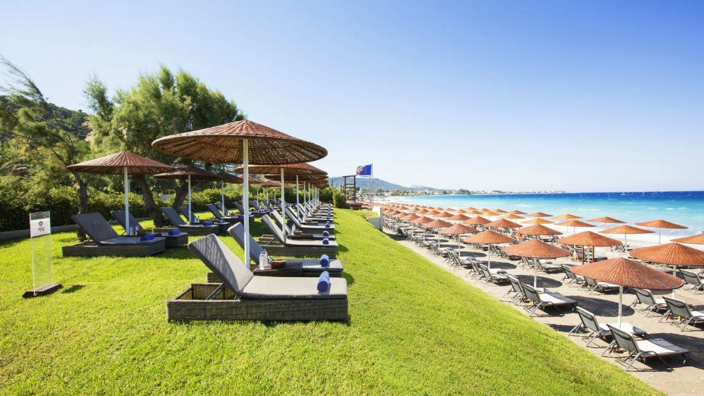Private beach featuring SPG Gold Platinum Area at the Sheraton Rhodes Resort