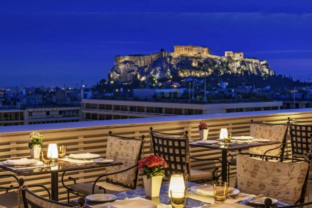Romantic dinner at the Tudor Hall Restaurant with amazing Acropolis views King George Athens-1600x900