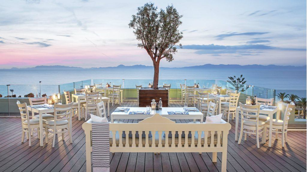 Thea Restaurant at the Sheraton Rhodes Resort Traditional Greek Cuisine with view to the sea