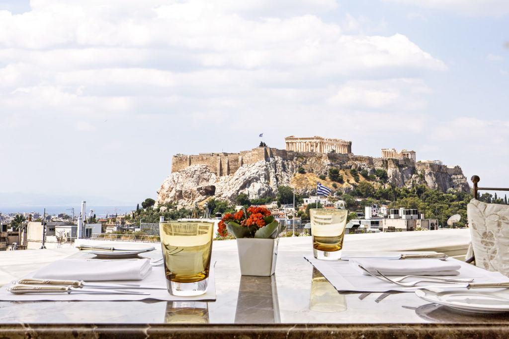 fine dining setup overlooking castle at daytime