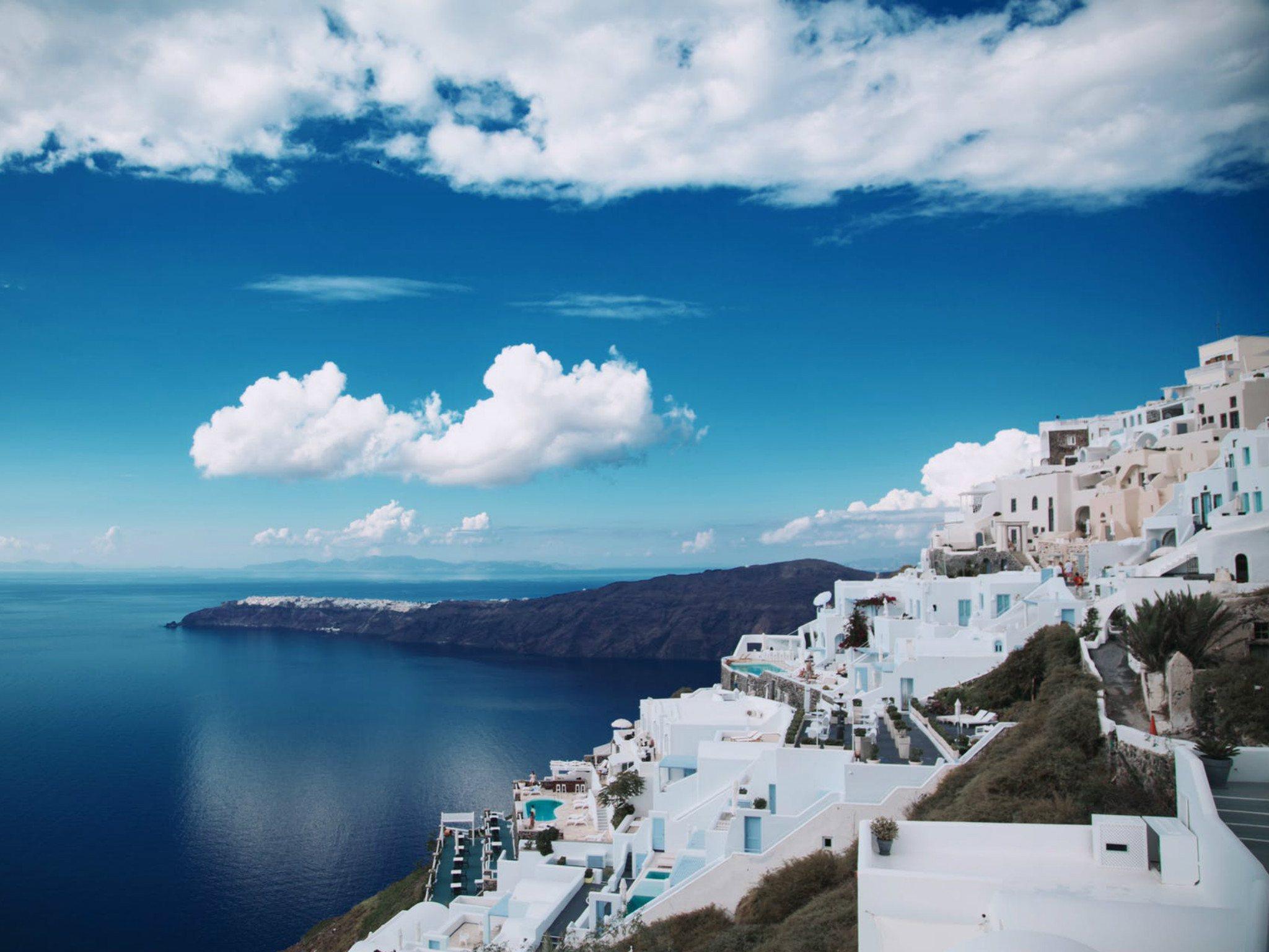 white Cinque Terre under white sky