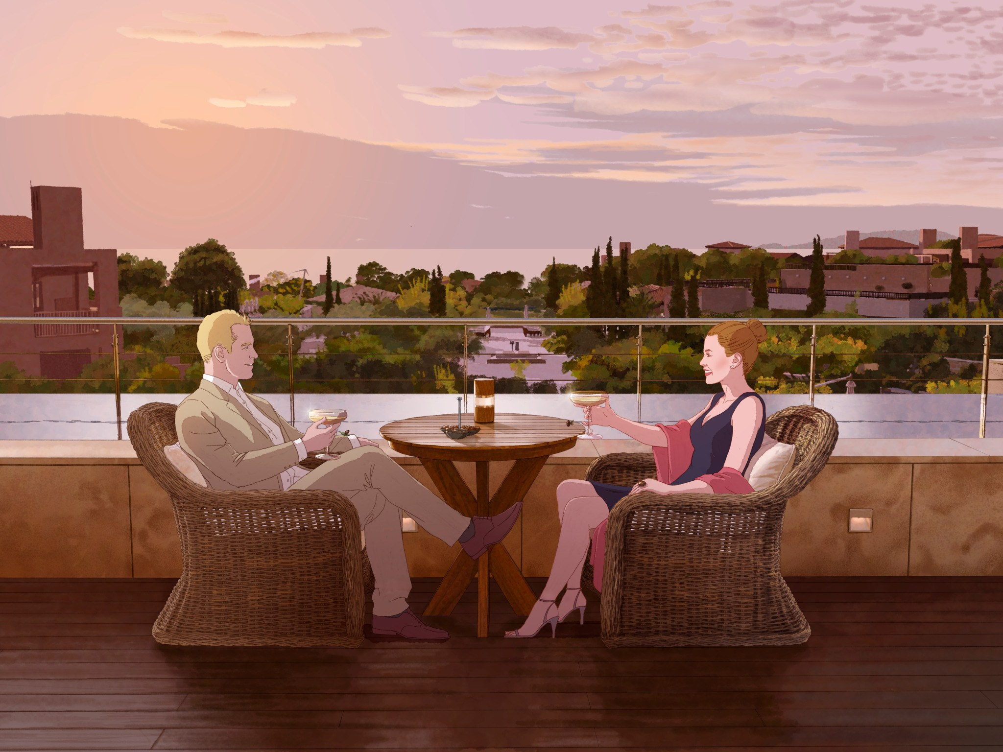 man and woman in bistro set vector art