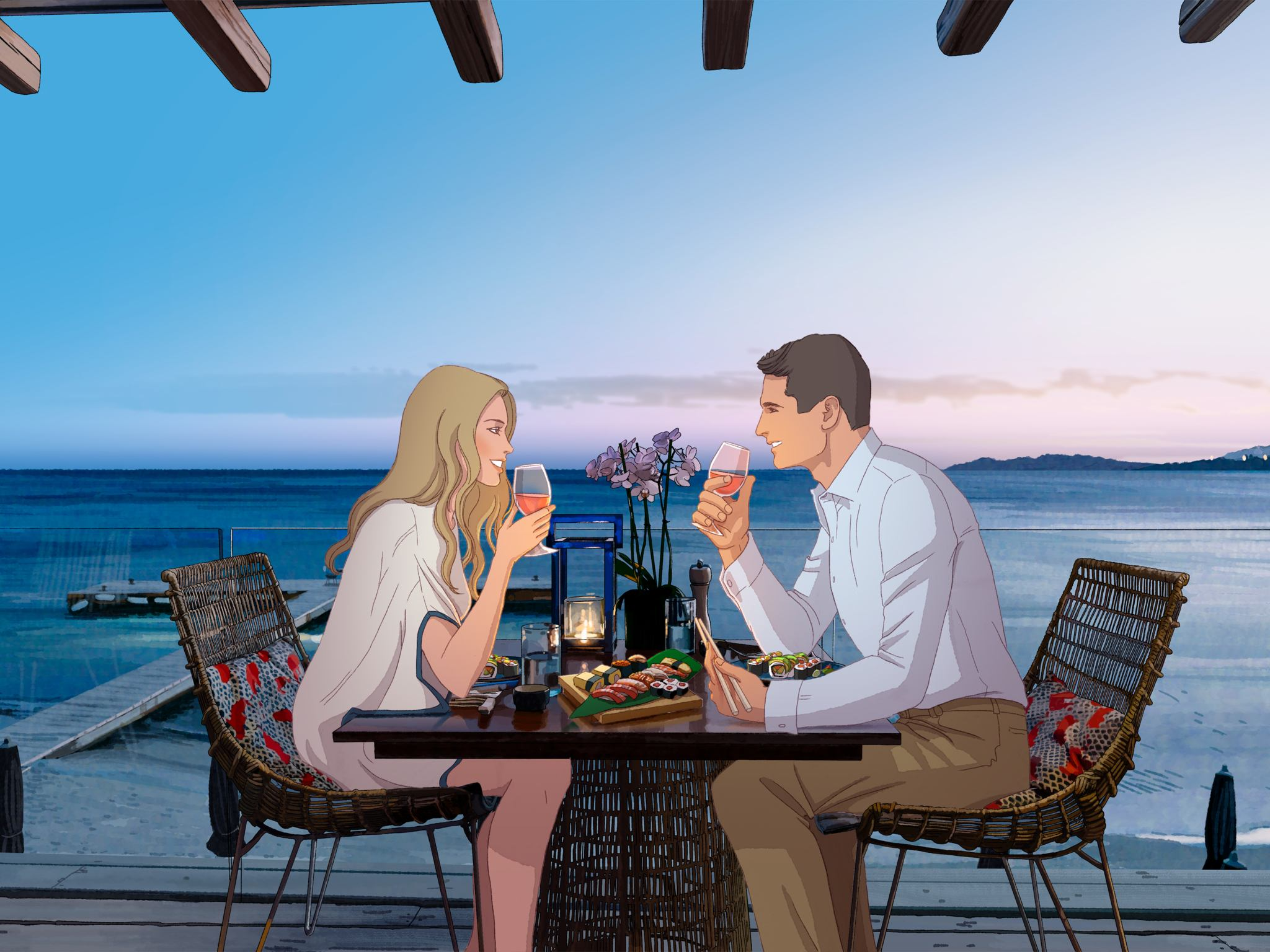 illustrated sitting man and woman about to drink beverage in drinking glasses near body of water
