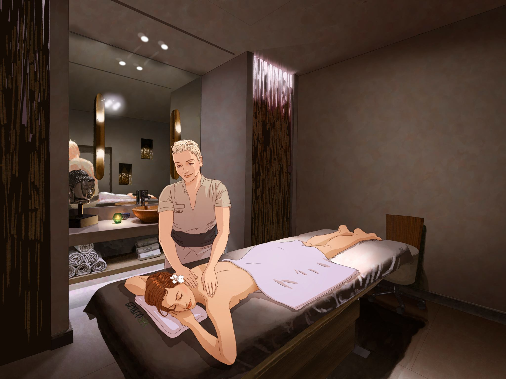 massage therapist massaging woman lying on massage table